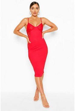 Red Lace Insert Midi Dress