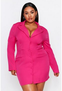 Fuchsia pink Button Front Plunge Blazer Dress