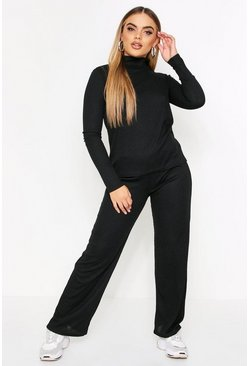 Black Ribbed High Neck Top & Wide Leg Co-Ord