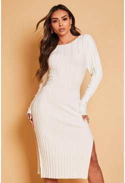 Cream vit Thick Rib Midaxi Dress
