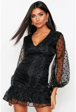 Molly black mesh polka dot dress