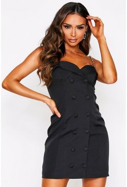 Black Chain Strap Cupped Belted Mini Blazer Dress