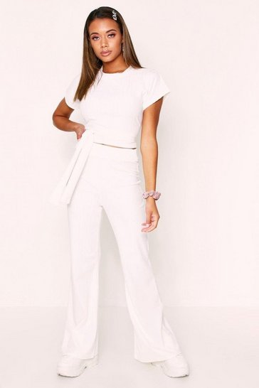 White Ribbed Tie Front Cropped Lounge Set