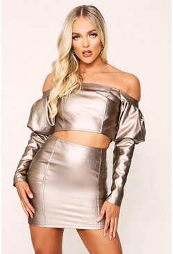 Bronze metallic Seam Detail Faux Leather Skirt