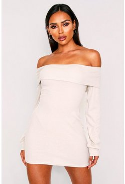 Stone beige  off the shoulder rib mini dress