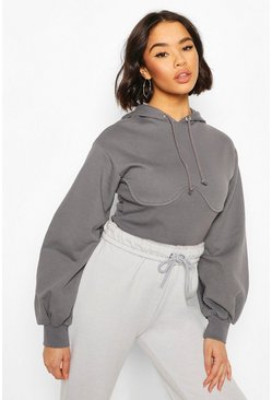 Slate grey Corset Detail Crop Hoody