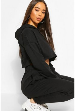 Black Washed Crop Hoody Tracksuit Set