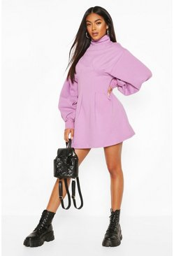 Lilac purple Funnel Neck Balloon Sleeve Sweat Dress