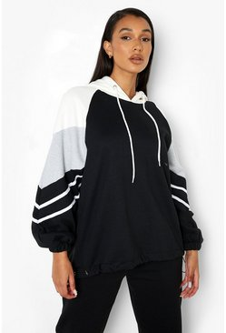 Black Colour Block Stripe Detail Oversized Hoodie