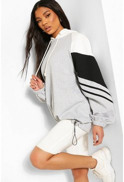 Grey Colour Block Stripe Detail Oversized Hoodie