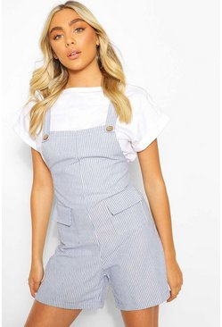 Blue Tonal Stripe Linen Look Dungaree