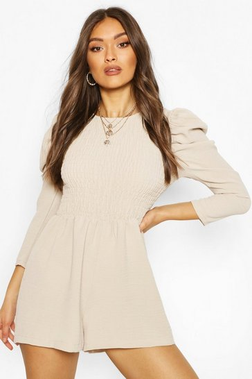 Sand beige Shirred Volume Sleeve Playsuit