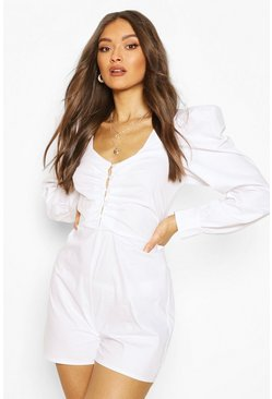 Ivory white Cotton Poplin Button Front Playsuit
