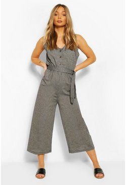 Black Linen Plunge Belted Jumpsuit