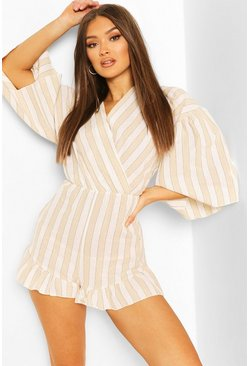 Stone Linen Stripe Wide Sleeve Wrap Playsuit