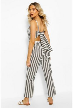 Black Linen Stripe Tie Back Jumpsuit