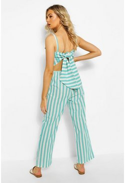 Sage green Linen Stripe Tie Back Jumpsuit