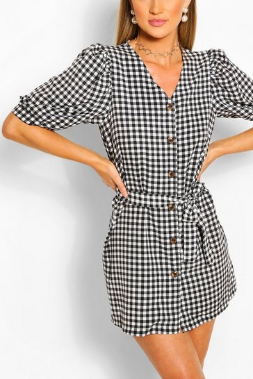 Black Puff Sleeve Button Front Gingham Playsuit