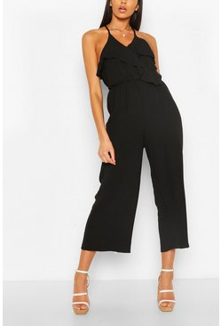 Black Linen Mix Ruffle Cullotte Jumpsuit