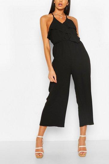 Black Linen Mix Ruffle Culottes Jumpsuit