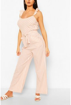 Blush Linen Mix Stripe Ruffle Jumpsuit