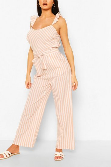 Blush pink Linen Mix Stripe Ruffle Jumpsuit