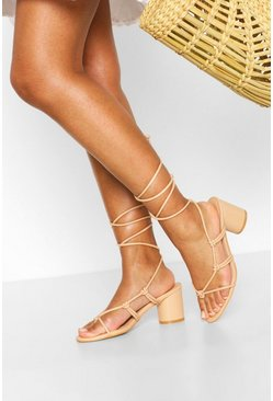 Nude Wide Fit Cylinder Heel Strappy Sandals