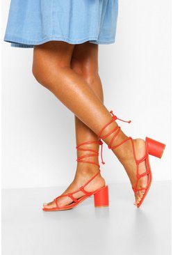 Orange Wide Fit Cylinder Heel Strappy Sandals