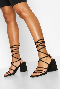 Black Wide Fit Strappy Block Heels