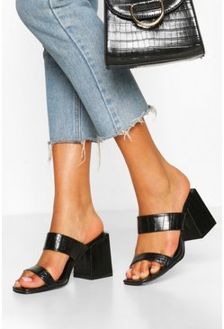 Black Wide Fit Croc Square Toe Mules