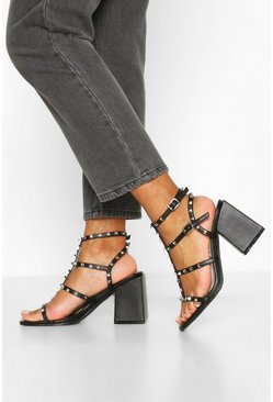 Black Wide Fit Stud Detail Block Heel Sandals