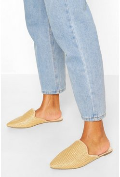 Natural Wide Width Raffia Pointed Toe Mules