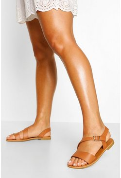 Tan Wide Width Cross Over Strap Sandals