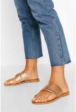 Rose gold Wide Width Toe Post Multi Strap Slides