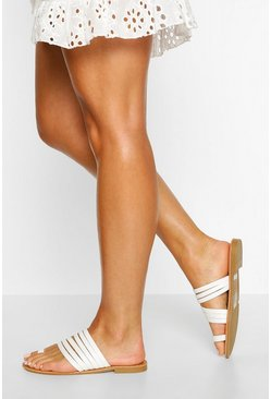 White Wide Width Toe Post Multi Strap Slides