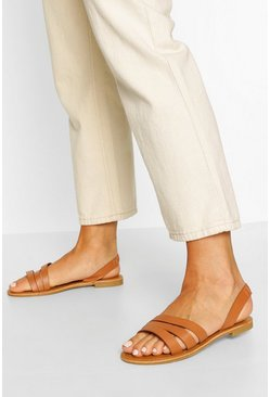 Tan Wide Fit 3 Strap Sandals
