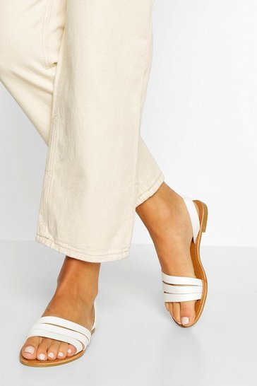 White Wide Fit 3 Strap Sandals