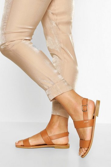 Tan brown Wide Fit Buckle Strap Sandals