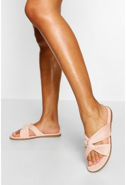 Blush pink Wide Fit Knot Front Sliders