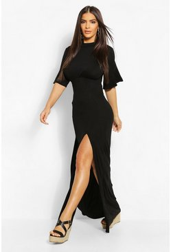Black Jersey Curved Seam Midaxi Dress