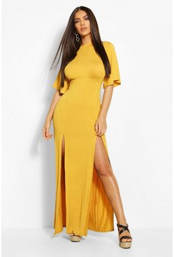 Mustard yellow Jersey Curved Seam Midaxi Dress