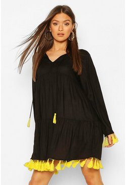 Black Tassel Detail Smock Dress