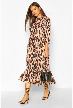 Natural beige Woven Leopard Drop Hem Midaxi Dress