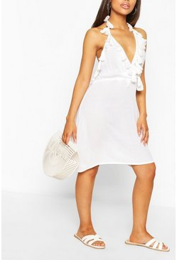 White Tassel Detail Plunge Skater Dress