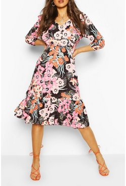Black Ruffle Front Floral Midaxi Dress