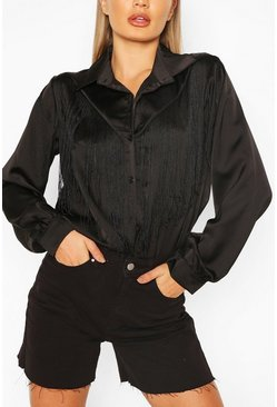 Black Satin Tassle Tie Front Shirt