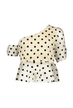 Nude Spotty Organza One Shoulder Top
