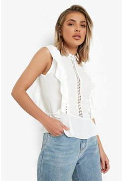 White Crochet Ruffle Top