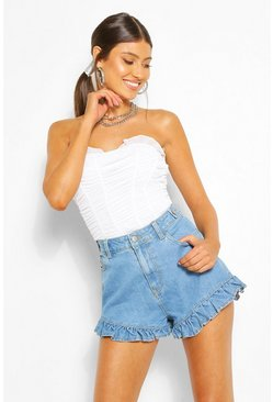 Light blue blue Denim Frill Hem Shorts