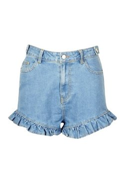 Light blue Denim Frill Hem Shorts